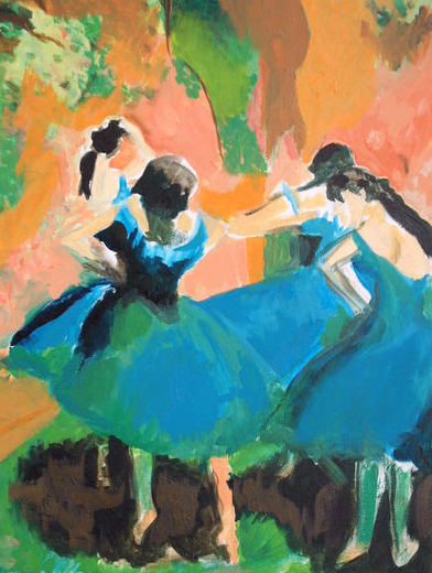 High school painting by Bridget Nielsen of Degas Ballerinas