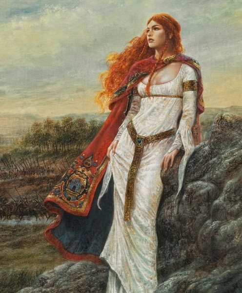 Druid woman with red hair in nature