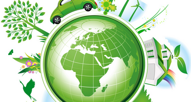 Green Earth with symbols of sustainability and a new economy surrounding it