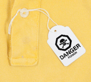 Yellow shirt with a danger tag representing synthetic clothing