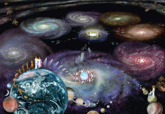 Beings evolving through Infinite levels of consciousness represented by many galaxies