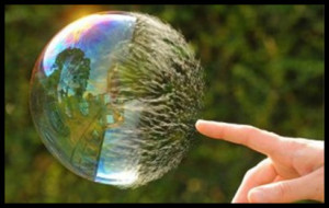 Finger touching bubble showing how to transform Beliefs Instantly