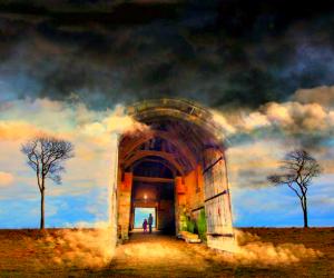 Door Opening Into Blue Sky