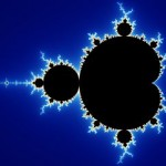 Black ink blot looking symbol created from the Mandelbrot set