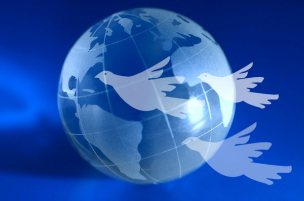 Blue Earth with doves representing Government, Economy, Money