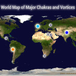 World map showing the sacred sites, energy points, major chakras and major vortexes of the world.