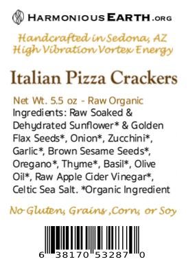 Italian Pizza Cracker Back Label